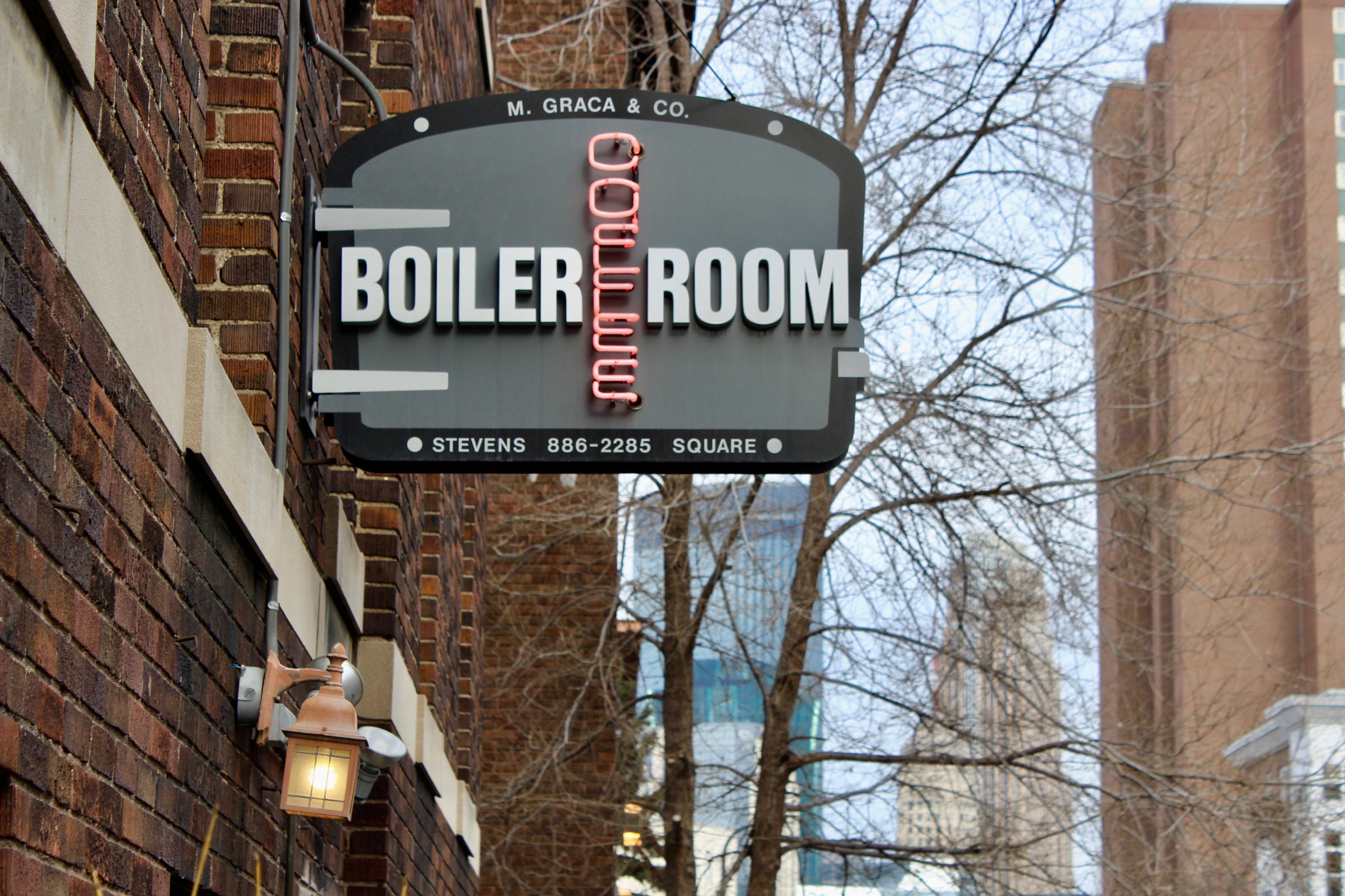 the boiler room storefront neon sign